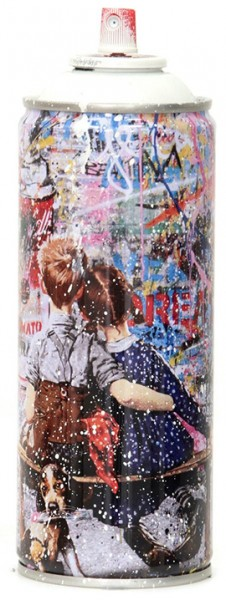 'WORK WELL TOGETHER' 2020 SPRAY CAN WHITE by Mr. Brainwash