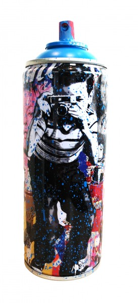 'SMILE' 2020 SPRAY CAN CYAN by Mr. Brainwash