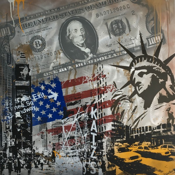 NEW YORK CRACY DOLLAR FLAG - LEINWAND - Michel Friess