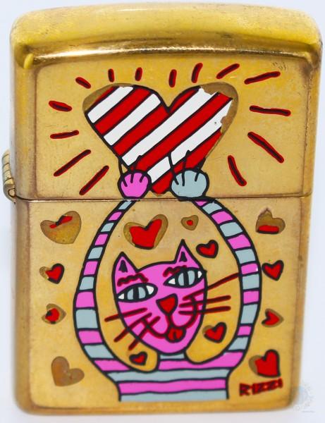 James Rizzi Zippo Feuerzeug GOLD CAT