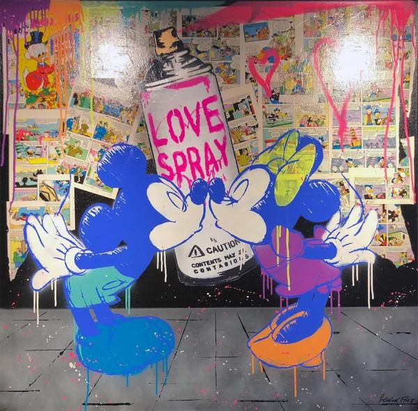 MICKEY LOVESPRAY BLACK N BLUE - LEINWAND - MICHEL FRIESS